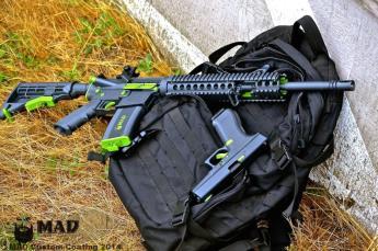 AR15 in Cerakote Sniper Grey & Zombie Green w/ Matching Glock
