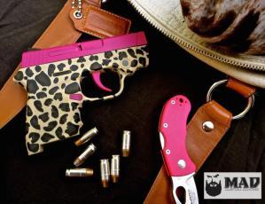 S&W Bodyguard in Cerakote Sig Pink and Leopard Print Frame