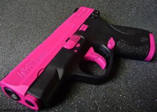 M&P Shield in Sig Pink and Graphite Black