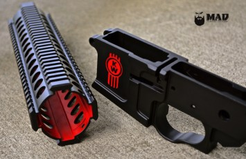 AR15 lower and rail in MAD Black and Cerakote USMC Red