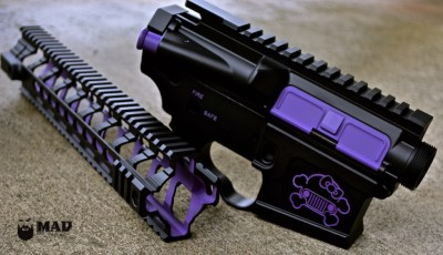 AR15 receivers & Fortis Rail in MAD Black and Cerakote Bright Purple