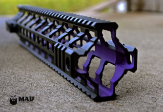 Fortis REV rail in Cerakote Bright Purple and MAD Black