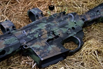 MAD Grunge Camo on an AR15 in MAD Black, Burnt Bronze & Highland Green Cerakote