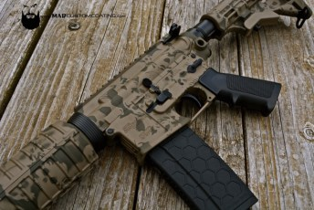 Sig Sauer AR15 in a MAD Skull pattern using Cerakote Magpul FDE & Magpul OD
