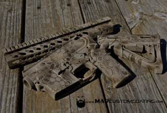 MAD Dragon Camo on an AR set in Magpul FDE, Patriot Brown & Desert Sand