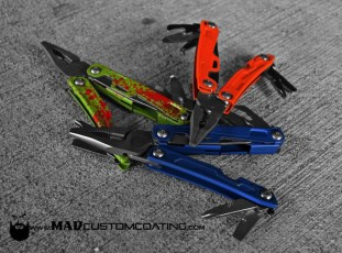 Leatherman REV Tool in Cerakote Zombie Green, Custom Orange and Custom Blue mix