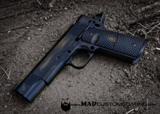 War Torn on a Fury Custom 1911 in Burnt Bronze & MAD Black