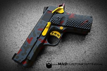 1911 in Woodland Camo using Sniper Grey, Magpul OD & Crimson w/Corvette Yellow Accents
