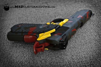 1911 in Woodland Camo using Sniper Grey, Magpul OD Green & Crimson w/Corvette Yellow accents