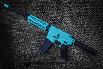 MAD Black & Robin's Egg Blue on an AR15