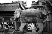 Elephant on the steps to the Nyatapola Temple