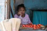 Bored fruit-seller