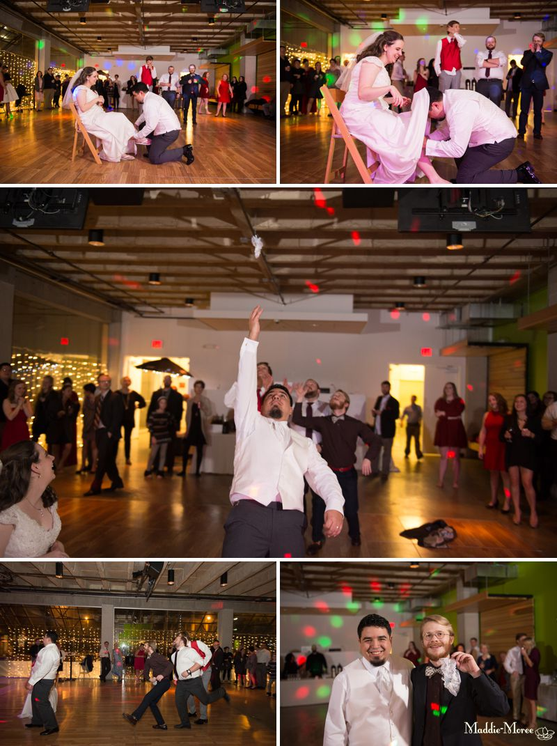 bouquet toss and garter throw