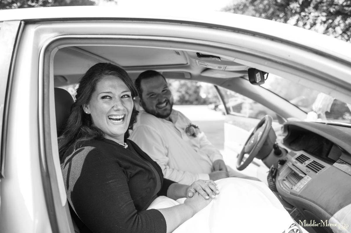 bride groom getaway car