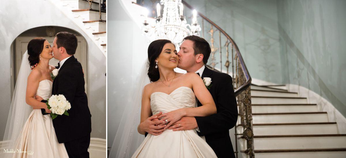inside cedar hall bride and groom