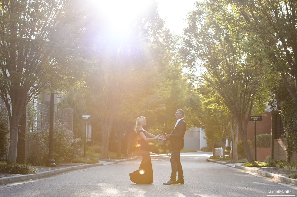 sun flare engagement photo