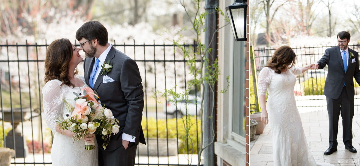 bride groom first look portraits spring maddie moree