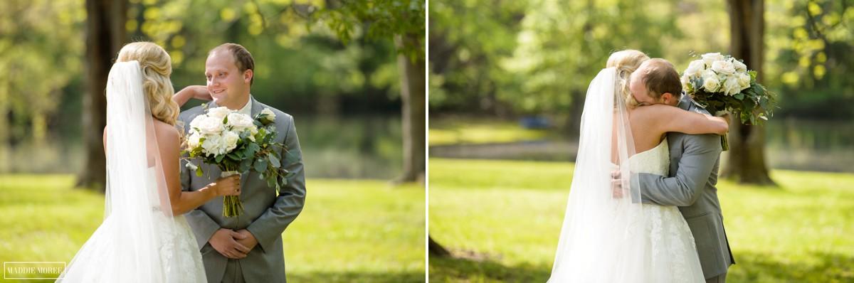 bride groom first look, grooms reaction