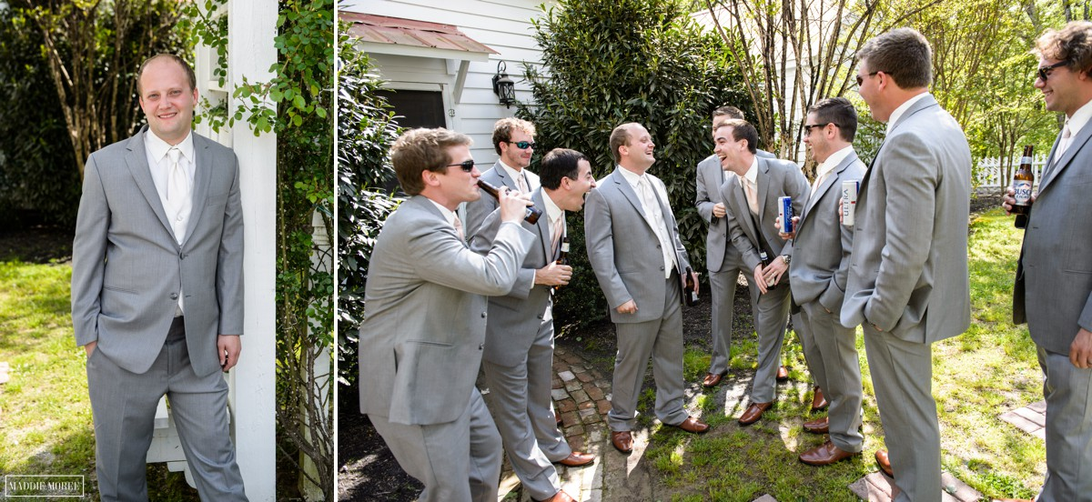 groom hanging with groomsmen