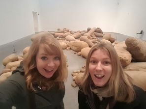 Becky (left) and me in a room full of potatoes!