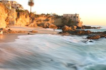 Long exposure of Tablerock Beach in Laguna at sunset.