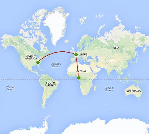 Map of my flight to get home