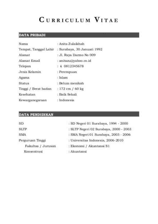 Contoh CV dalam Bahasa Indonesia