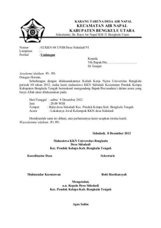 Contoh Surat Undangan Desa