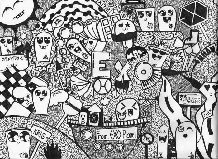 Karakteristik Dari Gambar Doodle Art Exo