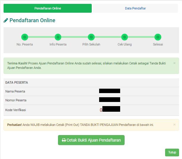Laman akhir pendaftaran ppdb online SD Dasar