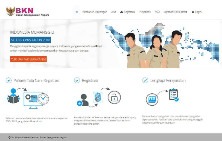 tampilan halaman utama sscn bkn