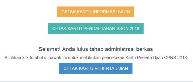 Tampilan tombol cetak kartu peserta ujian cpns
