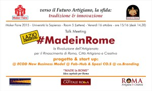 Invito MF15 - #MadeinRome progetto e start up