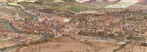 Immagine dell'incastellamento medioevale di roma nel 1300 - studio prospettico scientifico e ricostruzione di Giancarlo Micheli