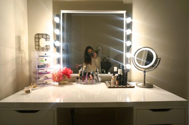 Should Vanity Lights Hang Over Mirror : DIY Makeup Vanity