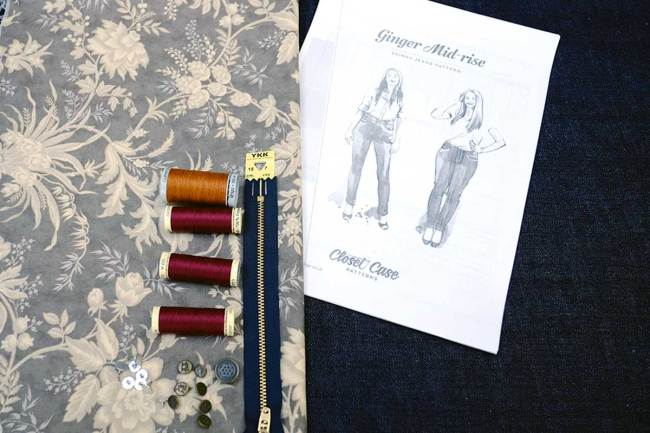 Threads, denim, quilting cotton and findings used in my Ginger jeans