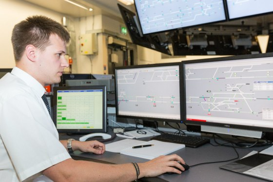 Man monitoring Northern line signalling