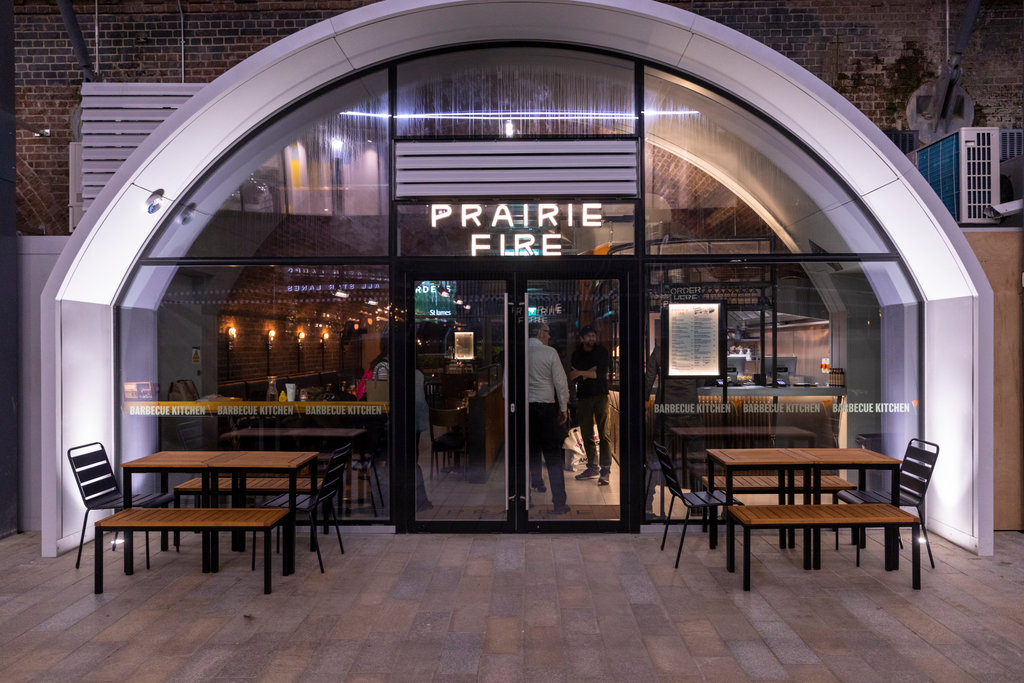 Prairie Fire Restaurant in one of the Wood Lane Arches by Westfield Square.