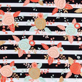Hobby Lobby BW Floral Stripe