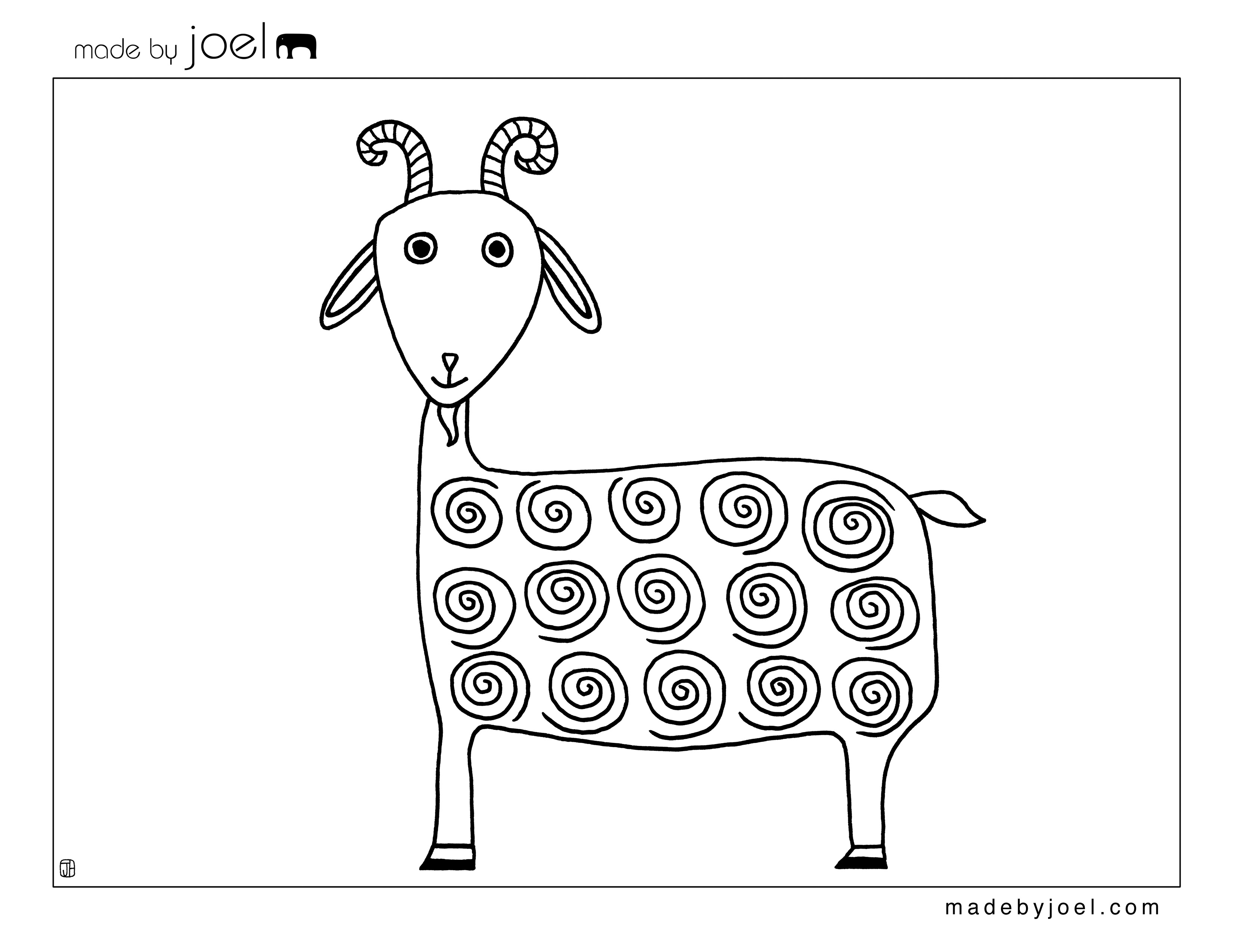 Goat Coloring Sheet Made By Joel