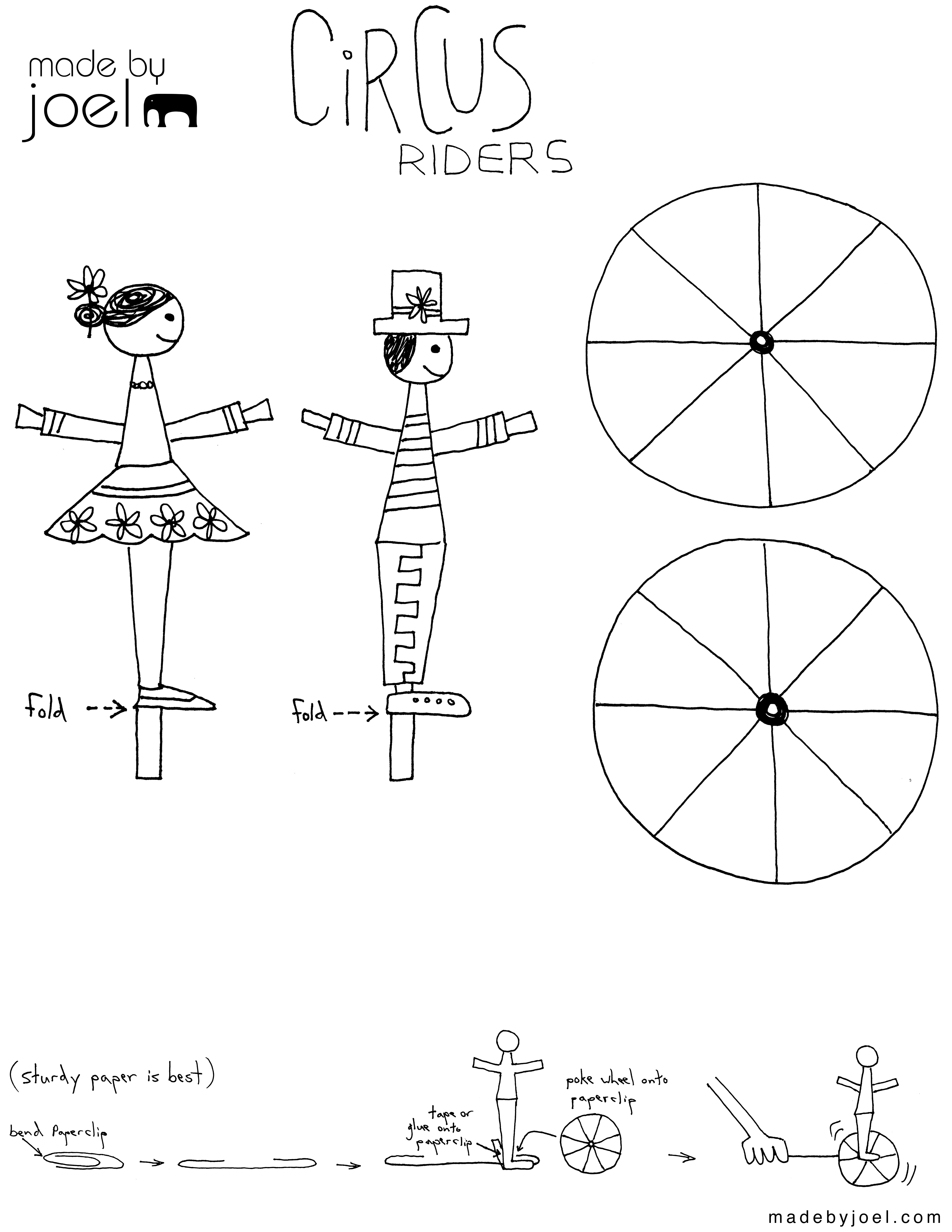 Made By Joel Circus Riders Kids Craft Template Made By Joel