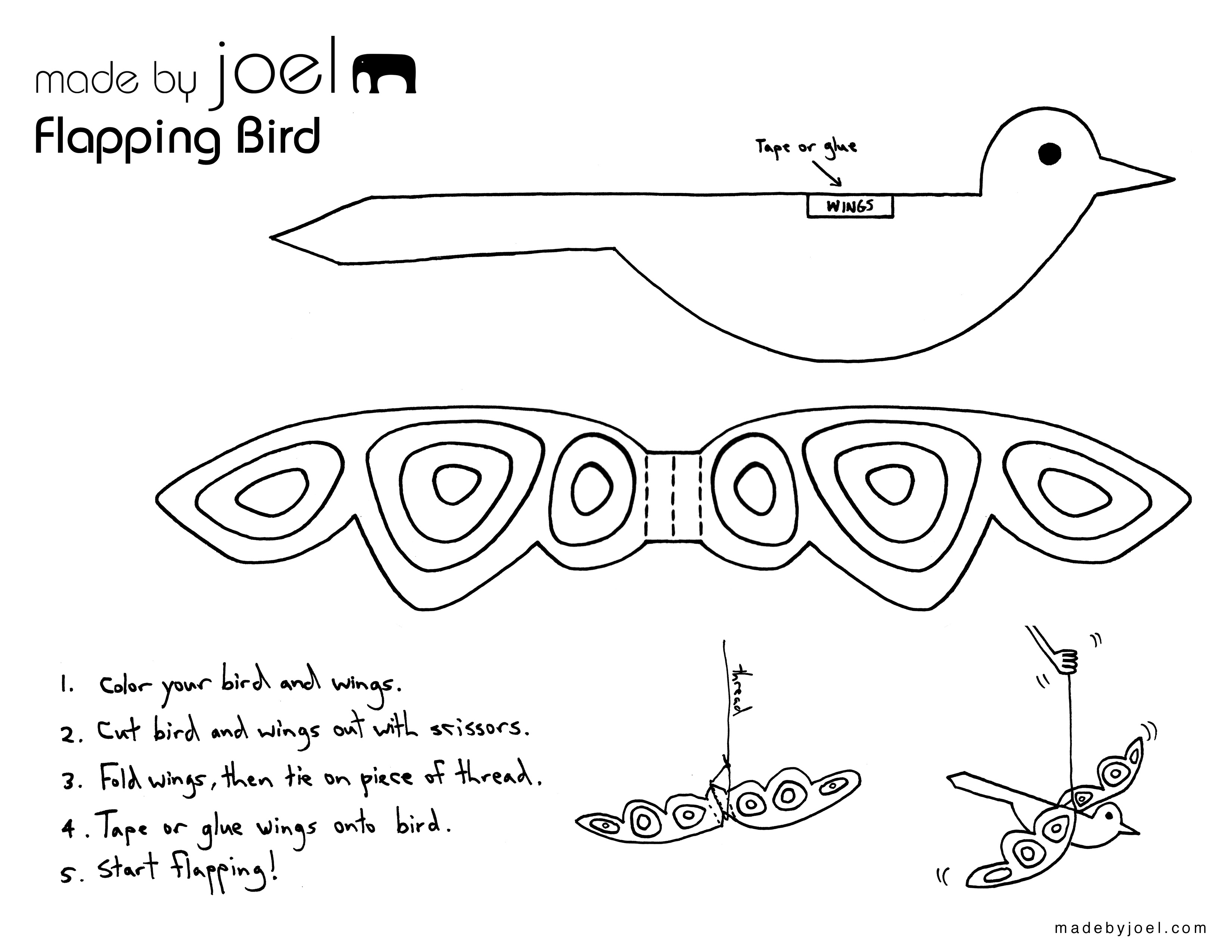 Made By Joel Flapping Paper Bird Toy