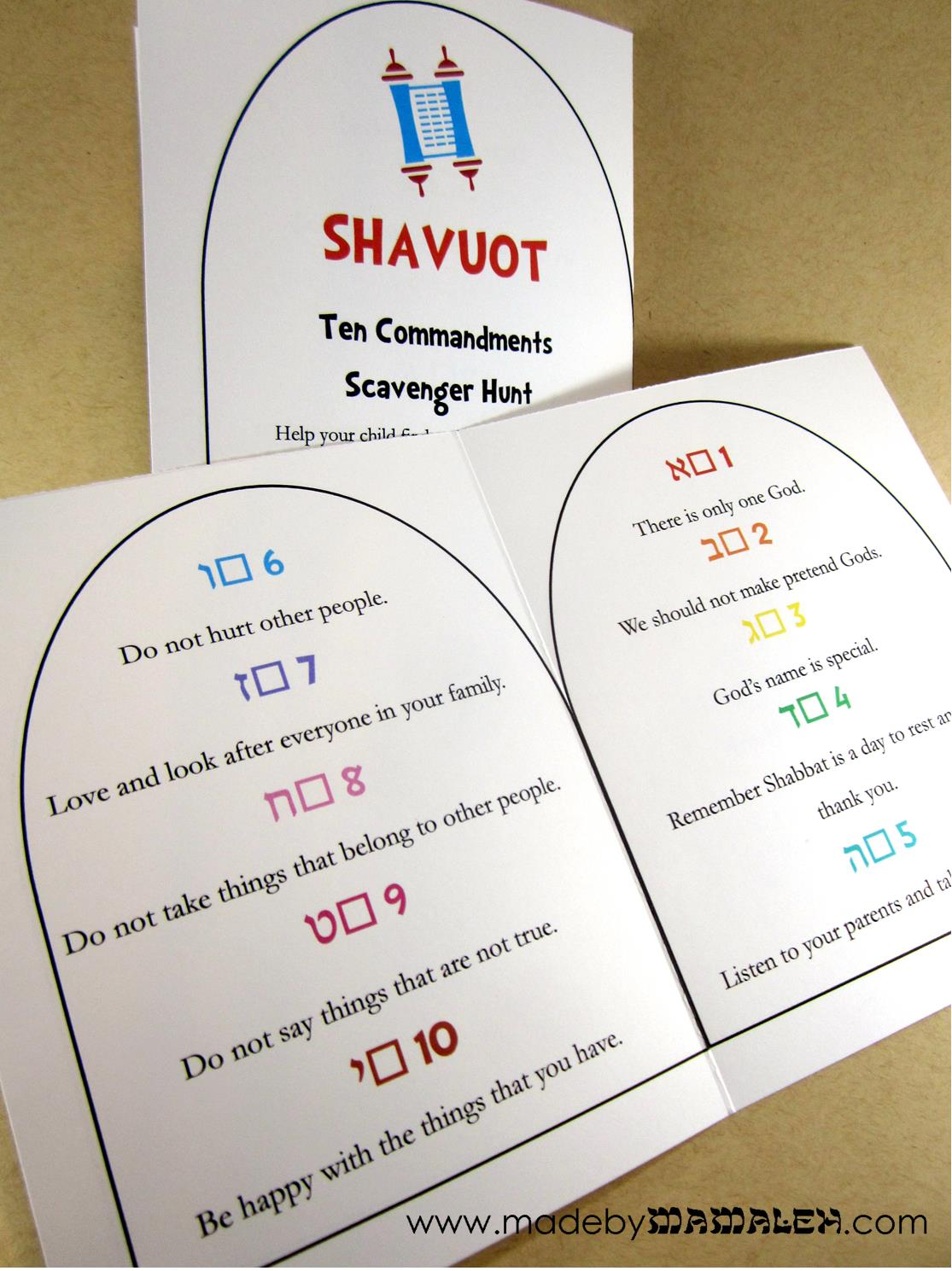 Ten Commandments Scavenger Hunt For Shavuot
