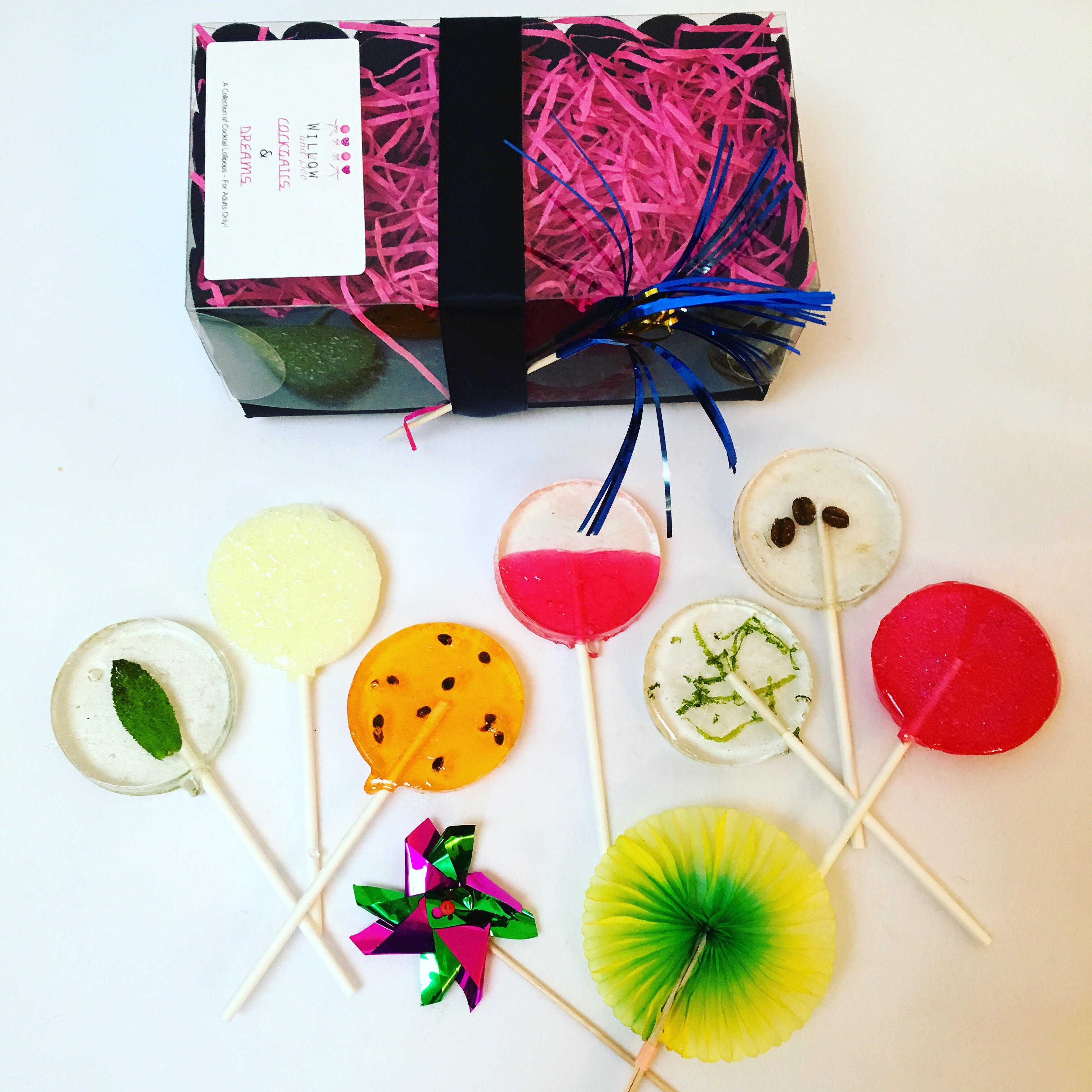 Party bag ideas; Handmade lollipops by Willow and Boo.