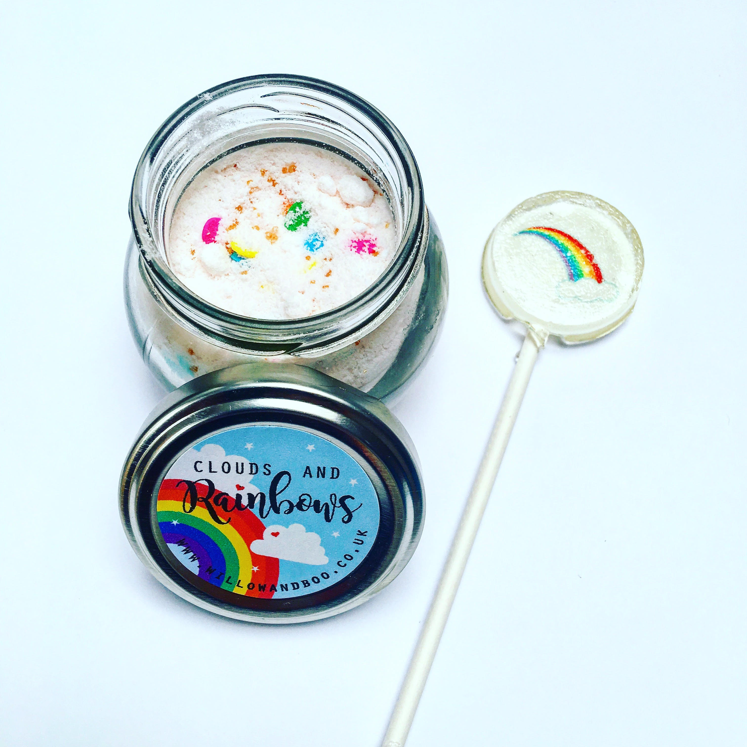 Party bag ideas. Handmade rainbow lollipops and sherbert pots