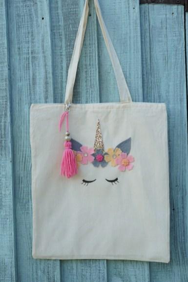 Unicorn tote bag decorating