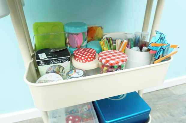 How to store children's craft supplies - an art cart full of craft materials