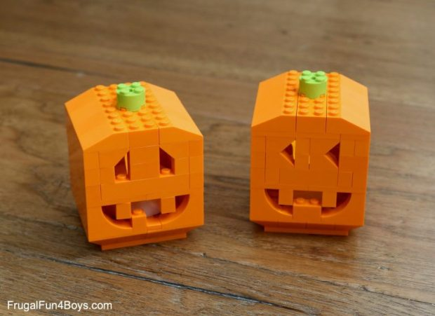 The best autumn crafts for kids. Brilliant Lego pumpkins by Frugal Fun for Boys and Girls