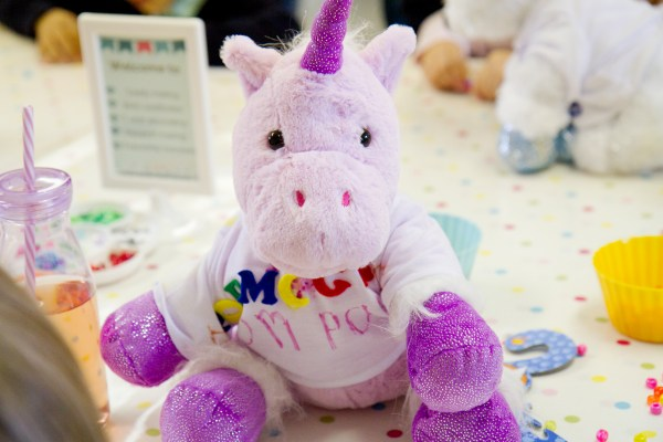 Teddy bear making party by Made By Me Craft Parties. Unicorn teddy with hand decorated t-shirt