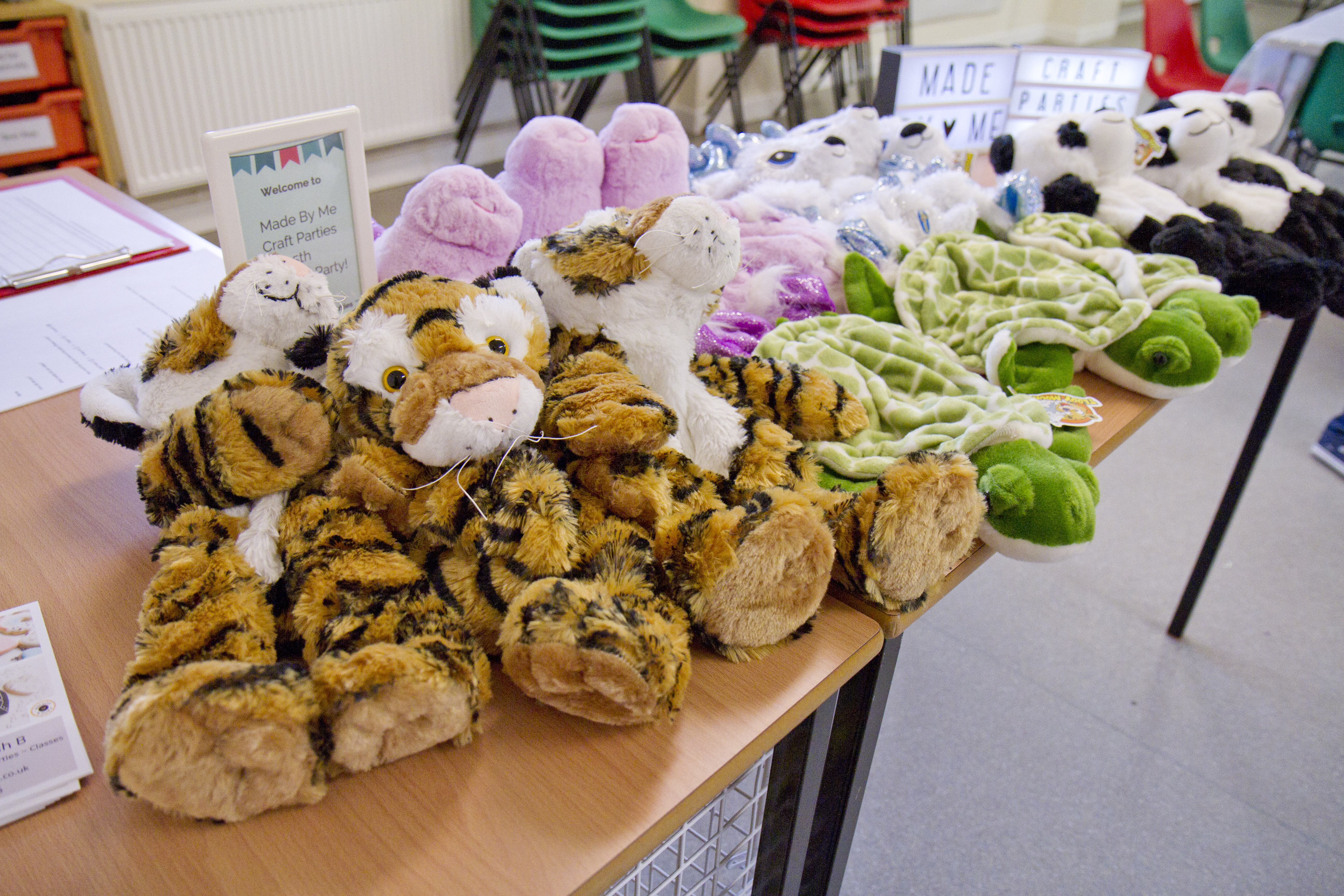Teddy bear making party. Bear cases laid out ready to be stuffed by children at a bear making craft party by Made By Me Craft Parties.